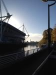 View from hostel breakfast patio. Millenium Stadium.