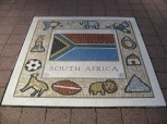 The kid's mosaic artwork outside Millennium Stadium. It represents what they see as South Africa.