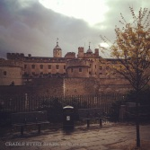 Tower of London, peaking out from under a cloud.