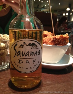 Did I mention the Savanna Dry? Please note, CeeCee's hand and burger in the corner, as she prepares to dive in.