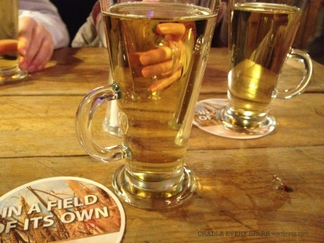 A little hot mulled cider to warm our hands. The day we visited was about 25 Fahrenheit.